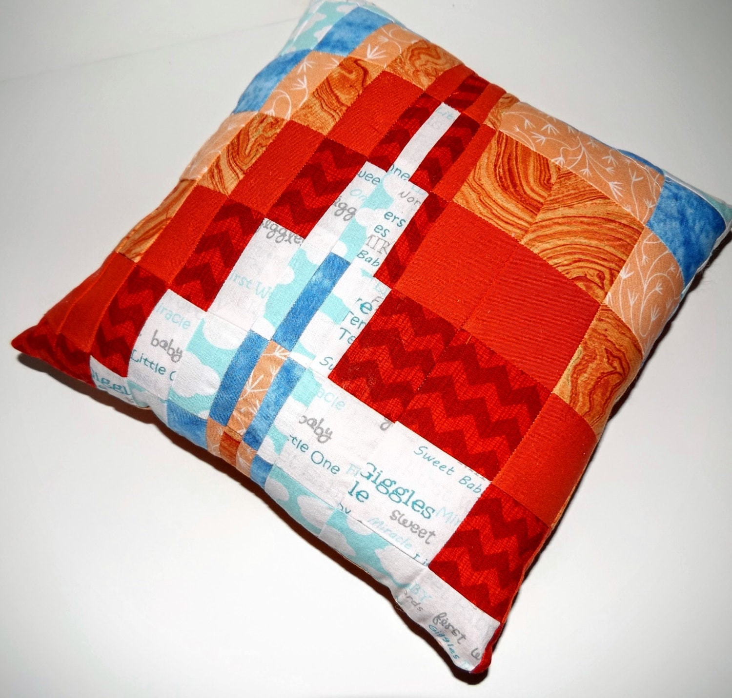 Quilted Pillow Bargello Style Decorative Throw Pillow