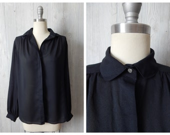 i don't like mondays | Women's Vintage 70s Campus Casuals Sheer Black Collared Button Down Career Blouse // Size Small Medium