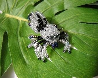 Handmade Glass Beaded Phidippus Crystal White Jumping Spider Figurine