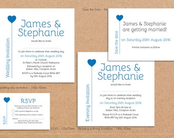 Wedding invitation gatefold stationary with RSVP cards x30