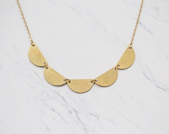Semicircle Brass Bunting Statement Necklace In Gold