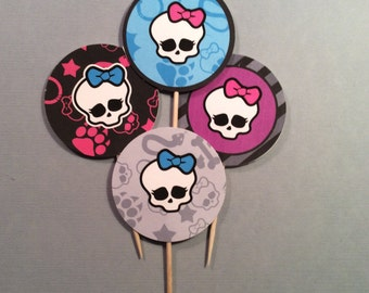 24 Monster High Cupcake Toppers Monster High Party Monster High Favors Party Supplies