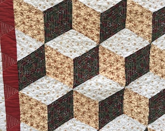 Monkey Tumbling Blocks, Gender Neutral, Baby and Toddler Quilt, Made in Maine, brown, rustic, illusion quilt