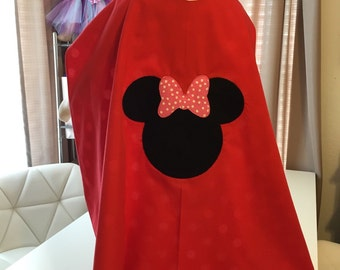Red and White Polka Dot Minnie MouseToddler Girl Superhero Cape
