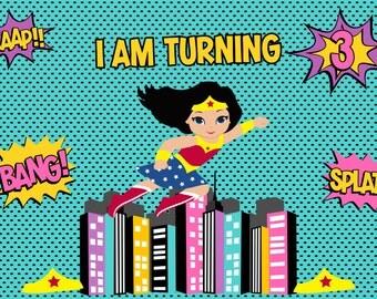 Wonder Woman/ Pop Comic Book Inspired Super Hero Birthday Backdrop