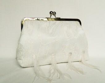 White Bridal Clutch, White Sequin Bridal Clutch, Wedding Clutch, Ostrich Clutch, Bridal Clutch, White Lace Clutch