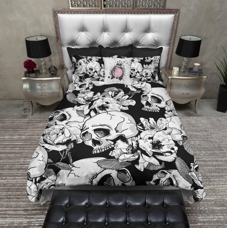 Lightweight Skull Bedding Black & White Skull Duvet by InkandRags