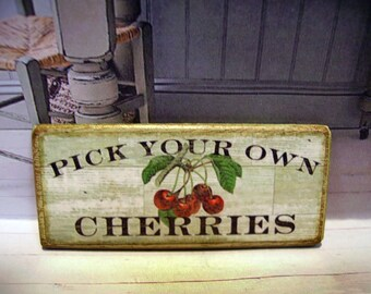 Pick your own Cherries Miniature Wooden Plaque 1:12 scale for Dollhouses