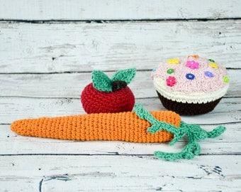kids pretend play fruits vegetables.crochet pretend play,baby crochet toys,crochet girl pretend play food,crochet pretend food,baby props