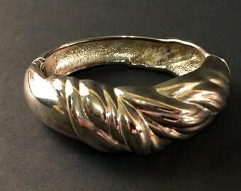 Vintage Silver Plate, Hinged Bracelet, 1980s Clamper Cuff, Bangle Type Bracelet, Vintage Jewelry