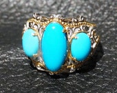Sleeping Beauty Turquoise Ring, Sterling Silver, Palladium, 18K Gold