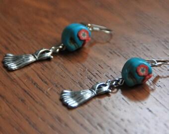 Festive earrings skull with dress