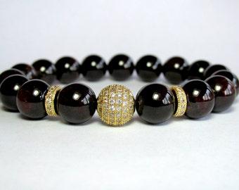 10mm Garnet Bracelet, Micro Pave Beaded Bracelet, Girlfriend Gift, Womens Gift, Garnet Jewelry, Birthstone Jewelry