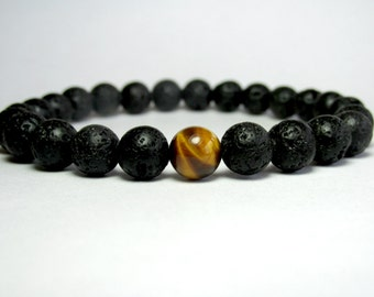 Black Lava Bracelet, Mens Beaded Bracelet, Yoga Bracelet, Yoga Gift, Mens Jewelry, Unisex Bracelet, Mala Bracelet, Boyfriend Girlfriend Gift
