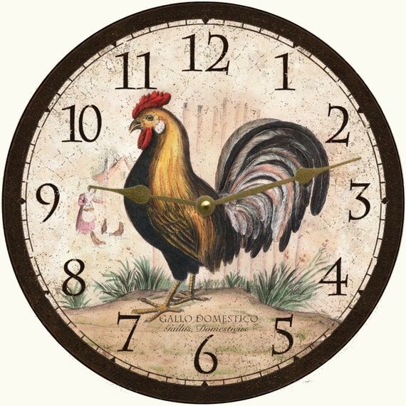 Rustic Rooster Wall Decor : Rustic rooster wall clock