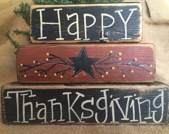 Primitive Country Happy Thanksgiving Star 3 pc Fall Shelf Sitter Wood Block Set