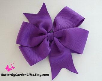 Purple pinwheel hair bow clip