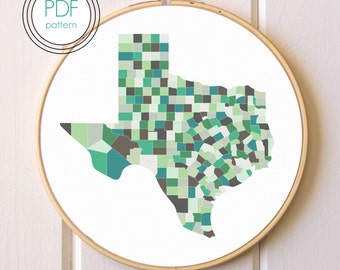 Texas Embroidery Pattern PDF. Modern Hoop Art. Hand Embroidery Pattern.