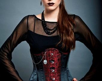 Goth Steampunk Underbust Corset Brocade Satin Curiosité - Red Skull Head Sterling Silver