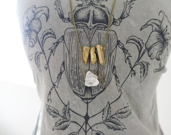 Light Pink Citrine Rock and Gold Crystal Quartz Boho Necklace