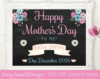 Printable Chalkboard Mother's Day Baby Announcement