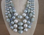 4 Strand Baby Blue Beaded Necklace - Blue Jean Baby - Retro Style Fashion - Blue Pearl Necklace