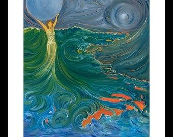 Mermaid, Bath Room, Bathroom, Coastal Wall Art, Ocean Wall Art, Beach House Decor, Under the Sea, Abstract, Wall Art, Wall Decor, Print
