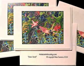 Mermaids, All Occassion, Note cards, Blank Card Sets, Cards and Envelopes, Invitations. Blank Mermaid Cards. Swimming Party,  Card Sets