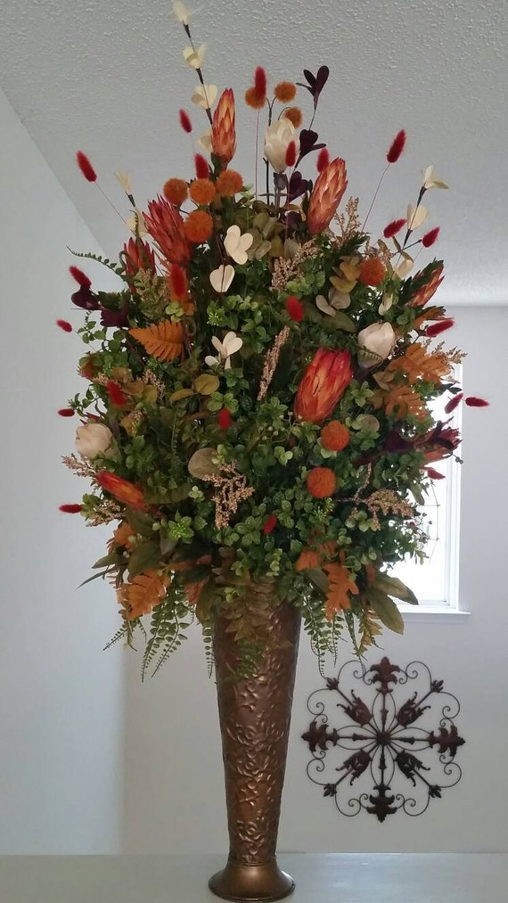 Tall extra large floral arrangement exotic transitional for Foyer flower arrangement