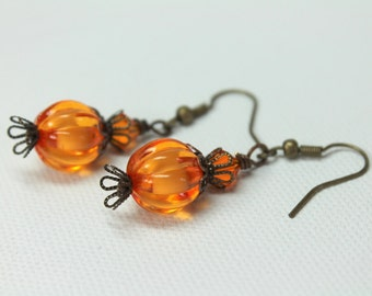 Pumpkin Earrings, Halloween Earrings, Fun Earrings, Dangle Drop Earrings, Pumpkin Jewelry, Halloween Jewelry,  Autumn Jewelry