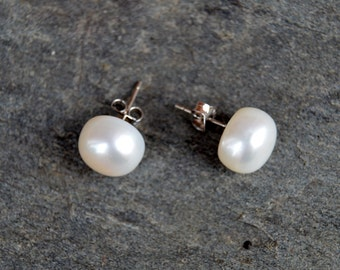Large White Freshwater Pearl Stud Earrings with Sterling Silver Ear Posts and Butterfly Backs