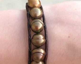 Gold Fresh Water Pearl Bracelet