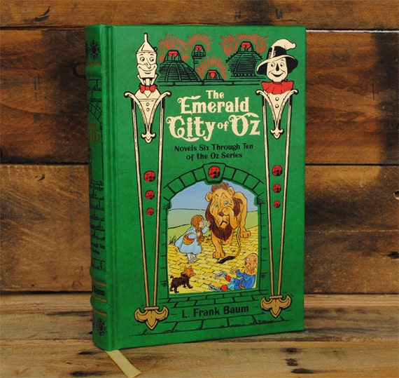 Book Safe - The Emerald City of Oz - Green Leather Bound Hollow Book Safe