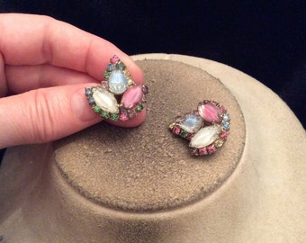 Vintage Multi Colored Rhinestone Leaf Clip On Earrings
