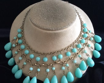 Vintage Chunky Blue Dangling Beaded Necklace