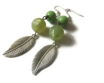 Bead and Leaf Earrings