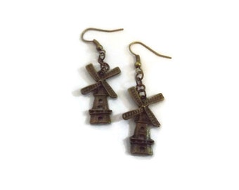 Recycled Bronze Windmill Earrings