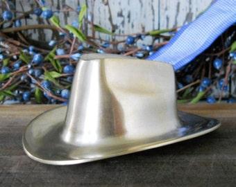 Vintage Solid  Brass Cowboy Hat ~ Western Decor ~ Man Cave ~ Paper Weight ~  Natural Bounty Vintage