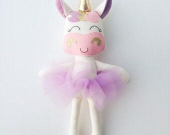 Unicorn doll - fabric doll  - unicorn - rag doll - girls room decor - unicorn party - dress up doll - unicorn birthday - baby gift
