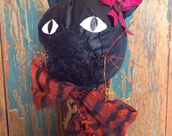 Black cat, folk art, primitive cat, Halloween, witches, Halloween decoration, mixed media cat art sculpture, textile art