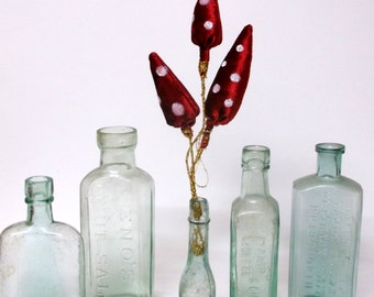Handpainted, velvet textile Toadstool Sculpture, Velvet Fairy Tale inspired Toadstool Sculpture, Textile, Mixed Media Art. In vintage bottle