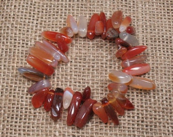 "Carnelian Hawaiian Chip Stretch Bracelet - 6.5"" - Item BR065"