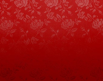 Satin Jacquard Roses Red Fabric - Sold By The Yard