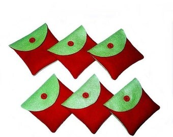 6 pcs lime green and red handmade hand sewn felt jewelry packaging pouches - favor pouches - gift pouches