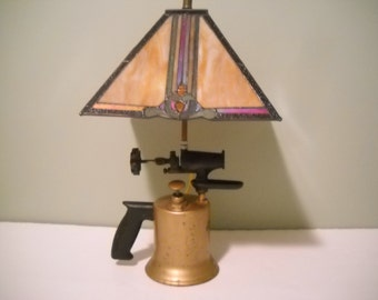 Torch Light with Stained Glass Shade
