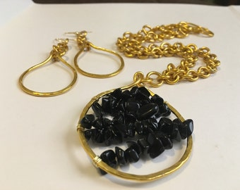 Gold, aluminum wire, necklace, hoop earring set, gift for her, Valentines Day Gift