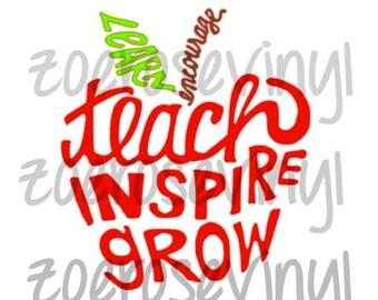 Learn, Encourage, Teach, Inspire, Grow Teacher Apple Vinyl Decal