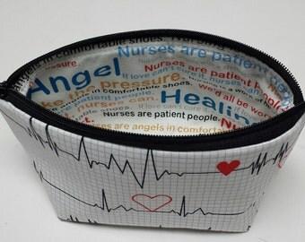 Zipper Pouch, Cosmetic Bag, Gadget Bag, EKG, Heart Beat,  Cotton Lining or Nylon Liner, Nurses Pouch,  Zipper Closure