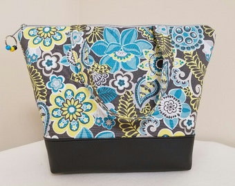 Insulated Lunch Bag, Vinyl Bottom, Aqua, Gray, Floral, Nylon Liner, Inner Zipper Pocket, Eco Friendly, Work Lunch Bag.