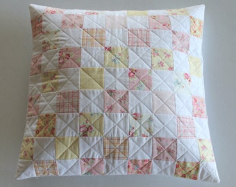 Sweet Pink  and Yellow Floral Pillow Cover ~ Pillow Cover ~ Patchwork Pillow Cover